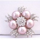 B309 Sparkling Diamond Brooch Genuine Swarovski Powder Rose Pearls Wedding Brooch
