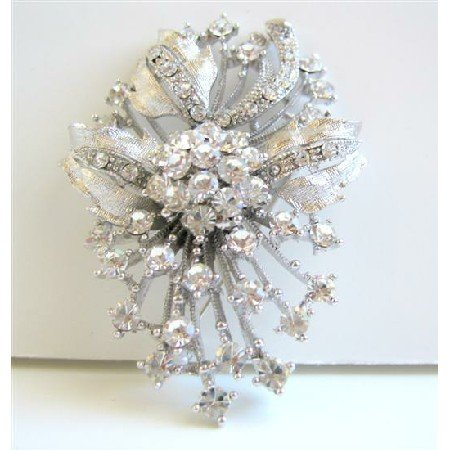B038 Diamond Brooch Fully Embedded w/ SIMULATED Diamond FLOWER BROOCH