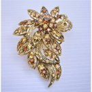 B156  Antique Copper Brooch w/ Smoked Topaz & Lite Smoked Crystals Brooch