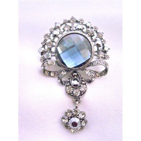 B175  Black Diamond Crystals Brooch Victorian Style Brooch Dangling Brooch Stylish Brooch