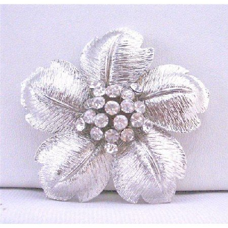 B283  Beautiful Flower Petals In Silver Wedding Brooch Very Classy Gorgeous w/ Rhinestones