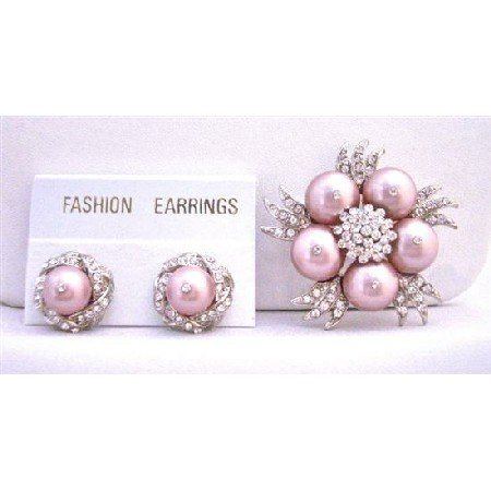 B314  Pearls Diamond Brooch Earrings NEW Combo Wedding Jewelry