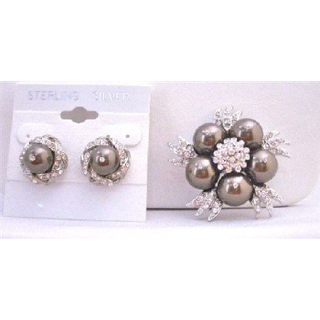 B292  Brown Stud Earrings w/ Swarovski Darkest Brown Pearls Brooch Chocolate Brown Pearls