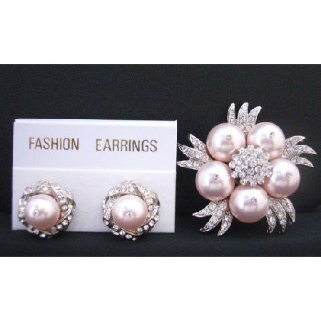B320  Gorgeous Rose Swarovski Pearls Brooch w/ Matching Earrings w/ Diamond Surrounded