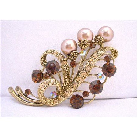 B181  Bridal Bridemaides Brooch Smoked Topaz w/ Champagne Pearls Antique Gold 3 Inches Long