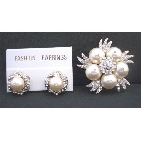 B299 Swarovski Ivory Pearls Brooch & Matching Earrings w/ Sparkling DiamondCubic Zircon