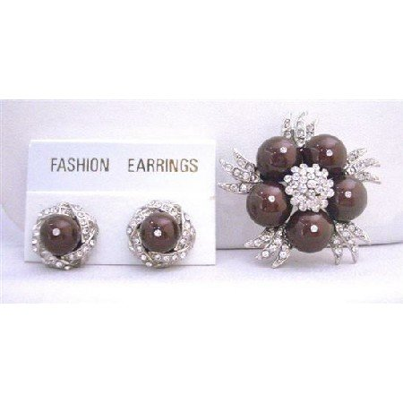B318  Meroon Pearls Cubic Zircon Gorgeous Fabulous Swarovski Pearls Brooch w/ Matching Earrings