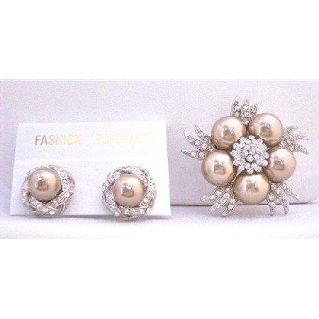 B297  Bronze Swarovski Pearls Stud w/ Bronze Pearls Brooch Decorated With Diamond