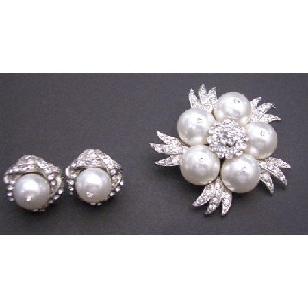 B321  Pure White Pearls Brooch Matching Classy Pearls Stud Earrings Diamante Brooch & Earrings