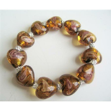 TB552  Stretchable Bracelet Millefiori Brown Heart Beaded w/ Bali Silver Spacer Bracelet