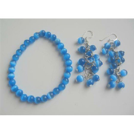 TB537 Dark Blue Glass Cats Eye Stone Bead Beaded Dangling Earrings Earrings Stretchable Bracelet