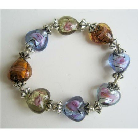 TB553  Multi Colored Heart Stretchable Bracelet w/ Bali Silver Spacer Bracelet