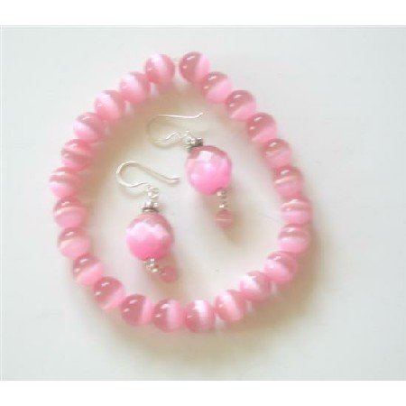 TB417  Pink Cat Eye Faceted Bead w/ Sterling Silver 92.5 Earrings & Bali Silver