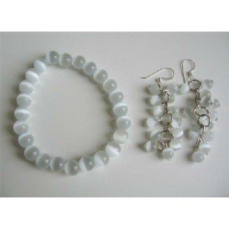 TB530  White Cat Eye 8mm Bracelet Stretchable & Earrings