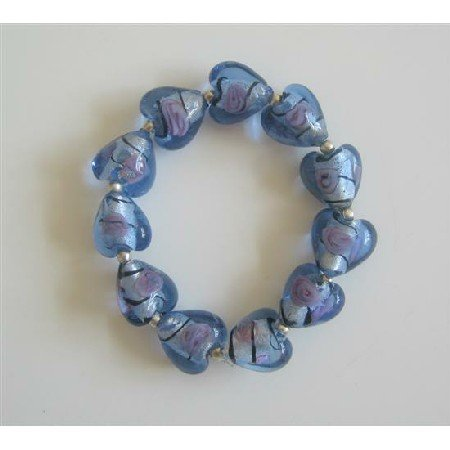 TB301  Millefiori Venetian Glass Heart Stretchable Bracelet w/ Silver Beads