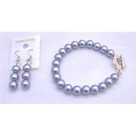TB666  Pearls Bracelet & Earrings Set In Dark Grey Pearls w/ Flower Clasp Bracelet