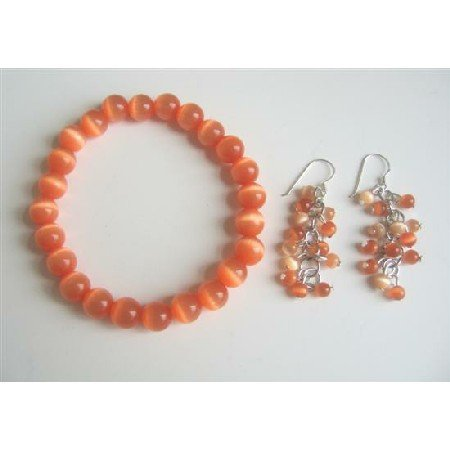 TB534  8mm Cat Eye Jewely Citrine Orange Pure Cat Eye Stretchable Bracelet & Earrings