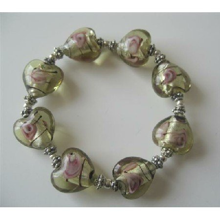 TB368  Heart Millefiori Venetian Glass Stretchable Bracelet w/ Silver Beads