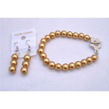 TB667  Golden Pearls Bracelet & Earrings Set Flower Clasp Bracelet