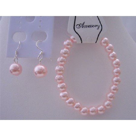 TB630  Pink Pearls Jewlery Bracelet Sterling Silver Hook Earrings