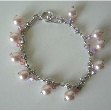 TB292  Rose Pink Pearls & Swarovski AB Rose Pink Crystals Bridal Bridemaides Bracelet