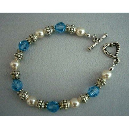 TB250  Genuine Swarovski Crystals & Pearls w/ Oxidized 7 inches Bracelets