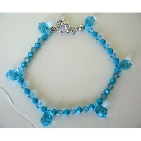 TB265  Elegant Bracelet Genuine Swarovski Aquamarine & Turquoise Crystals w/ Crystals Tear Drops