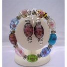 TB326  Murano Glass Beads Stretchable Bracelet Colorful Beads With Sterling Earrings Jewelry
