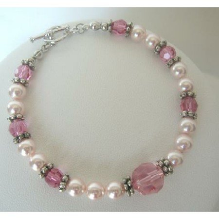 TB274  Handcrafted Custom Bracelet Genuine Swarovski Pearls & Crystals Pink Jewelry