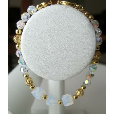 TB242  Gorgeous!!Genuine Swarovski AB Crystals w/ GOld Plated Beads Bracelet