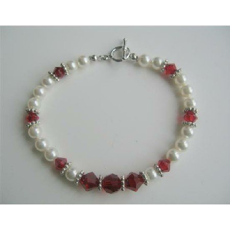 TB333  White Pearls And Swarovski Siam Red Crystals Bracelet Handmade