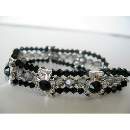 TB269  3 Strands Bracelet Genuine Swarovski Black Diamond Crystals & Jet Crystals Latch Clasp