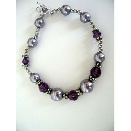 TB266  Bali Silver Bracelet w/ Genuine Swarovski Pearls & Crystals 7 inches Bracelet