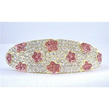 HA500Hair Barrette Fully Encrusted Clear Crystals w/ Pink Flower Crystals Embedded Bridal Hair Clip