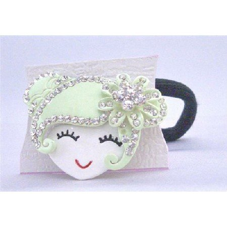 HA464 Green Metal Doll Fully Decorated w/ Simulated Diamond Hand Painted Face Hair Rubber
