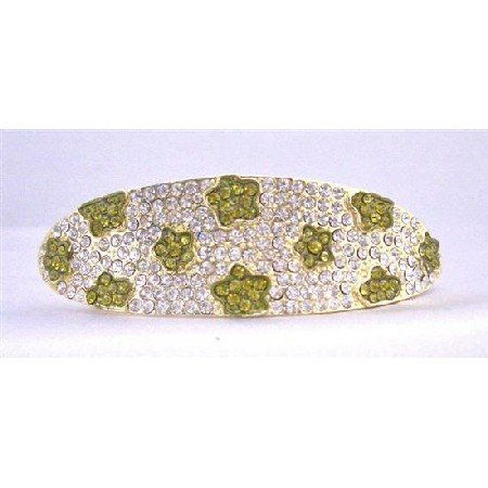 HA499  Bridemaides Wedding Hair Barrette Fully Encrusted Clear Crystals w/ Peridot Flower Crystals