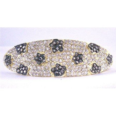 HA497  Clear Crystals Bridal Hair Barrette Fully Encrusted w/ Black Jet Flower Crystals Embedded