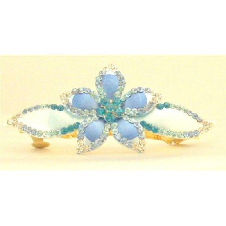 HA466  Aquamarine Clear Hand Painted Hair Clip Delicate Class Bridal Head Piece