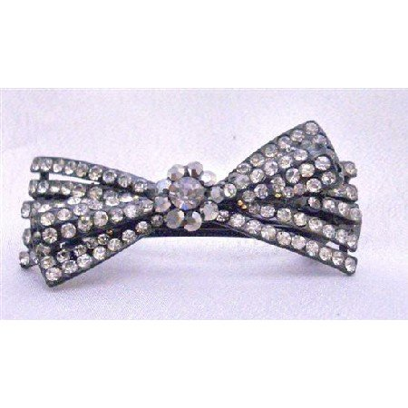 HA455 Hermitite Hair Barrette Encrusted w/ Black Diamond & Clear Rhinestones Bridal Hair Clip
