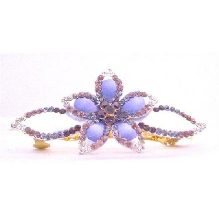HA470 Bridal Barrette Hand Painted With Amethyst Light & Dark Crystals Hair Jewelry