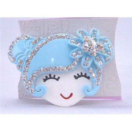 HA463 Metal Aquamarine Doll Face Hair Band Decorated w/ Simulated Diamond Hand Painted