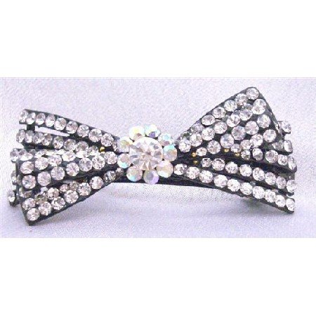 HA457  Clear Rhinestones Fully Embedded Bridal Barrette Exclusively Wedding Hair Clip