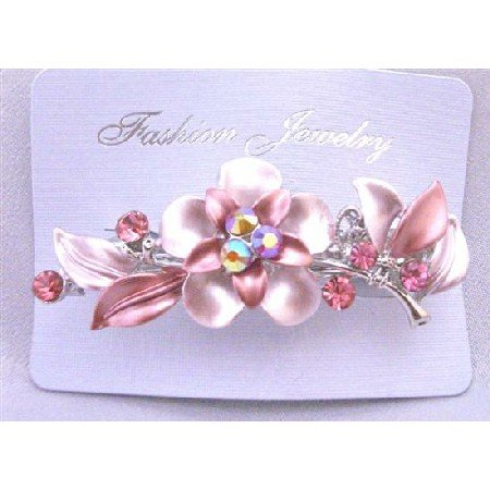 HA488  Bridal Prom Hair Barrette Beautfully Decorated Flower Pink Crystals Hair Barrette