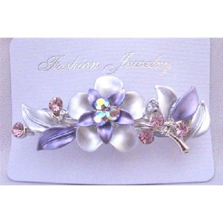 HA489  Amethyst Crystals Enamel Flower Bridal Hair Barrette Wedding Hair Barrette Clip