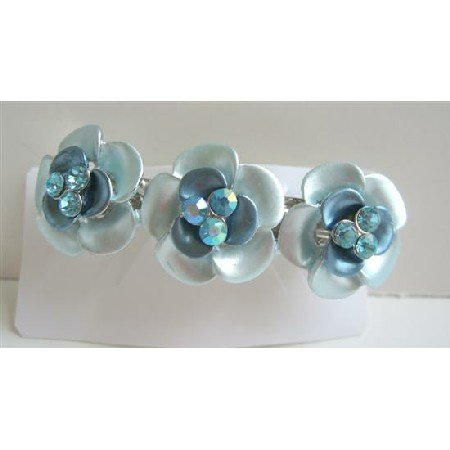HA401  Beautiful Hair Barrette Aquamarine Flower Enamel Hair Barrette