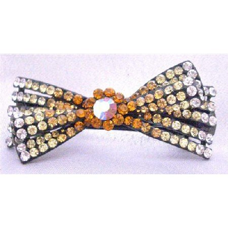 HA460  Hair Barrette For Any Occassion Hair Bow Clip Topaz Yellow Gold Color