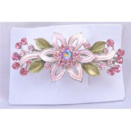 HA490Hair Barrette Barret Pink Flower Enamel w/ Green Leavs Fully Decorated With Pink Crystals