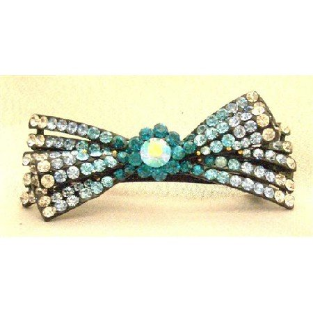 HA456  Wedding Hair Accessory Bridal Hair Barretted Sapphire Aquamarine Blue Zirconia