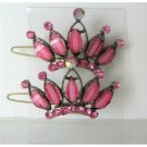 HA180  Pink Hair Accessories Crown Sparkling Pink Crystals Crown Hair Pair Clip