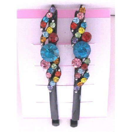 HA481  MultiColored Crystals Black Hair Pin Hair Accessories Black Pin